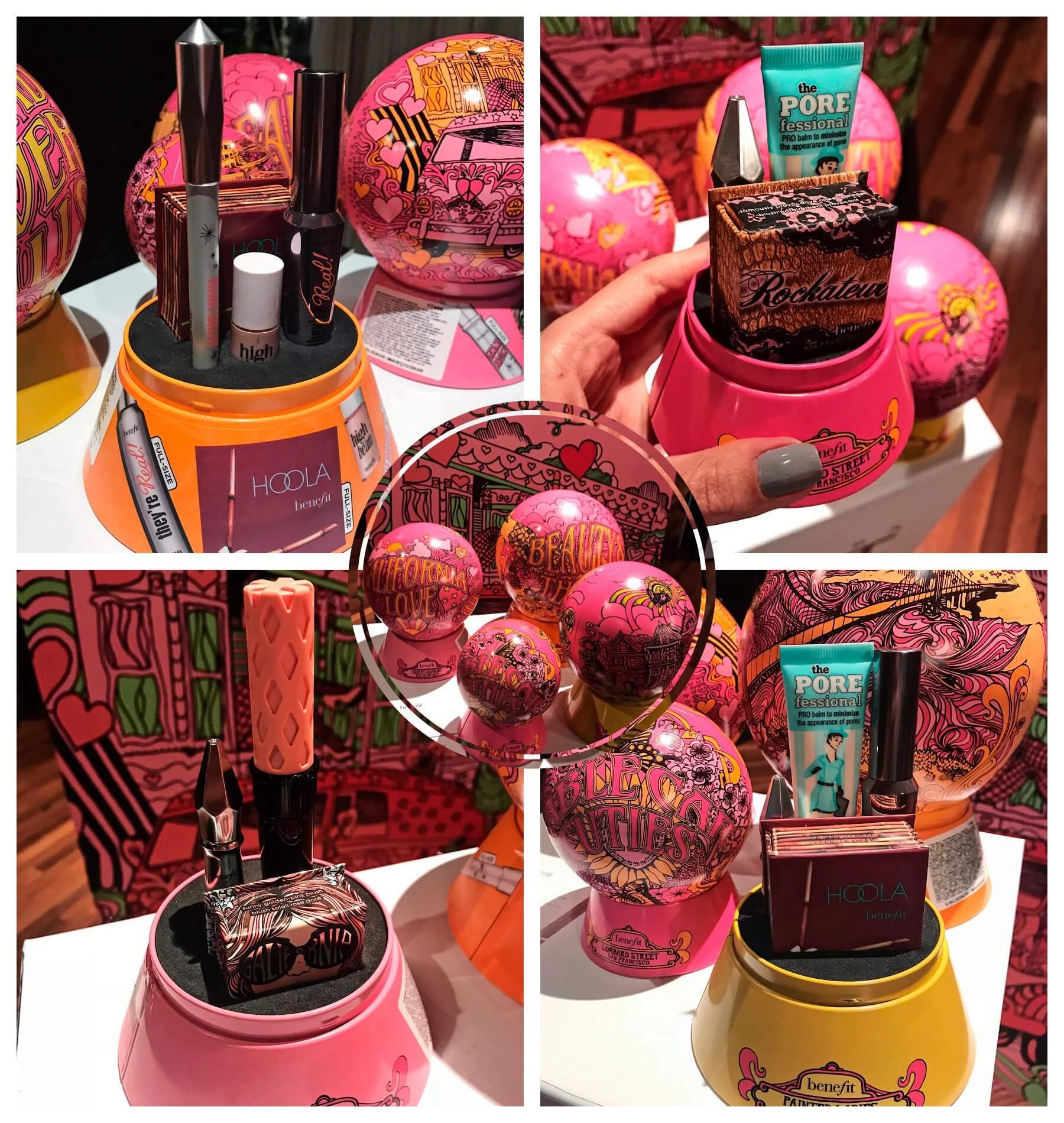 Lançamentos Sephora de Benefit, com quatro combinações diferentes de produtos, em embalagem especial, que imita o típico globo de neve natalino