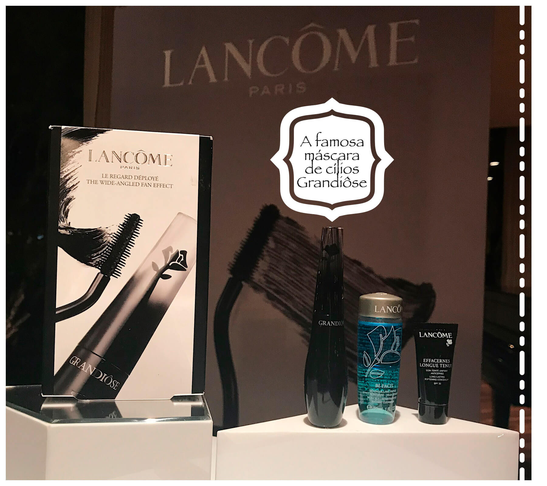 Lançamentos Sephora de Lancôme, o kit Grandiôse, com a máscara Grandiôse, demaquilante e corretivo.