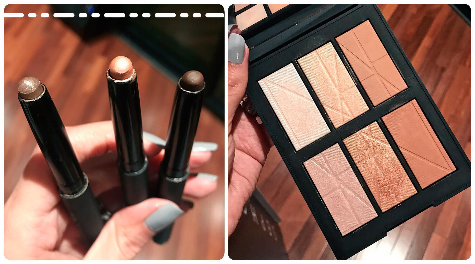 Lançamentos Sephora de Nars, paleta com iluminadores e bronzers, e três cores de sombras em caneta