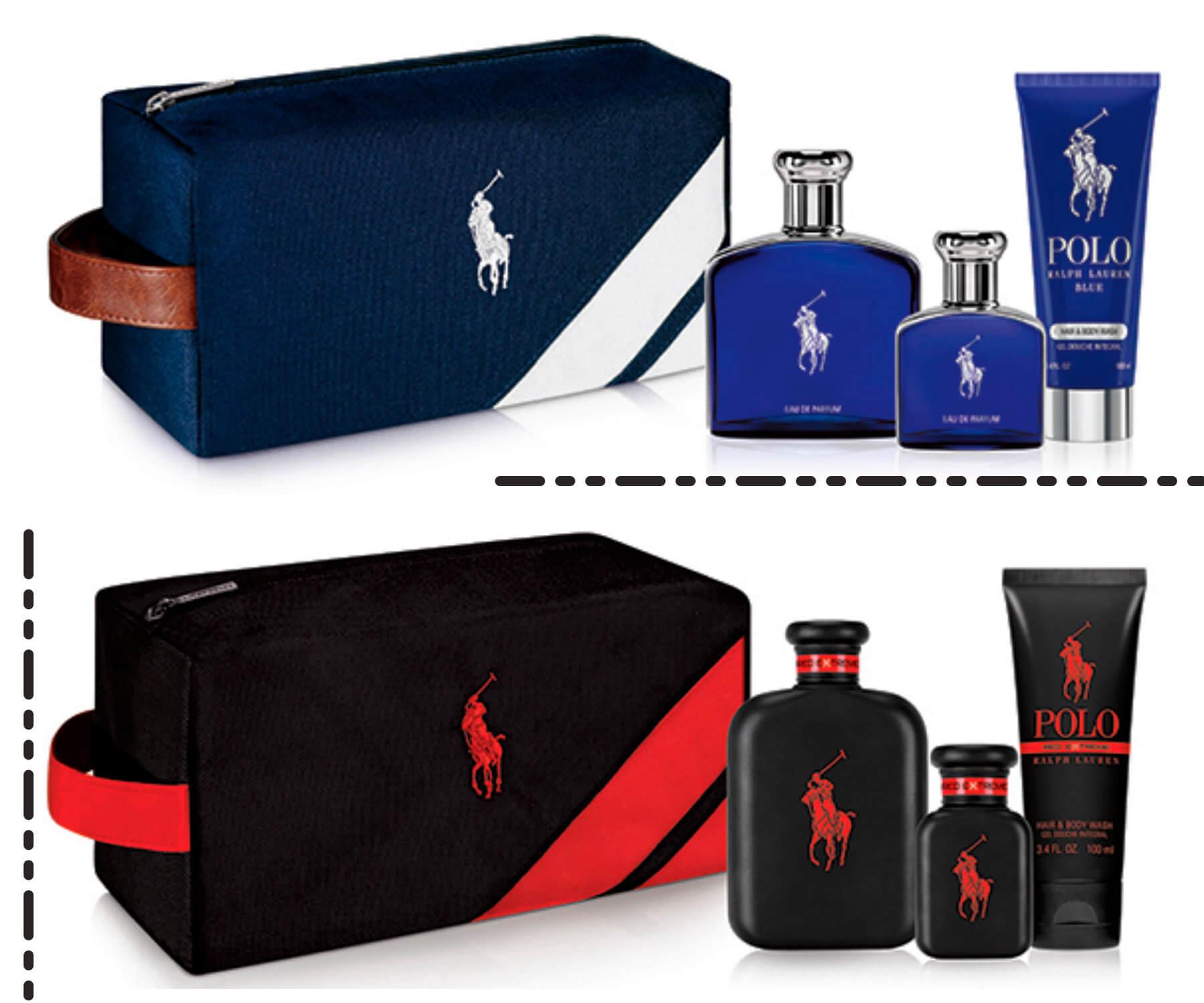 Lançamentos Sephora de Ralf Lauren, apresenta dois kits presentaveis das fragrâncias masculinas Polo Red Extreme e Polo Blue