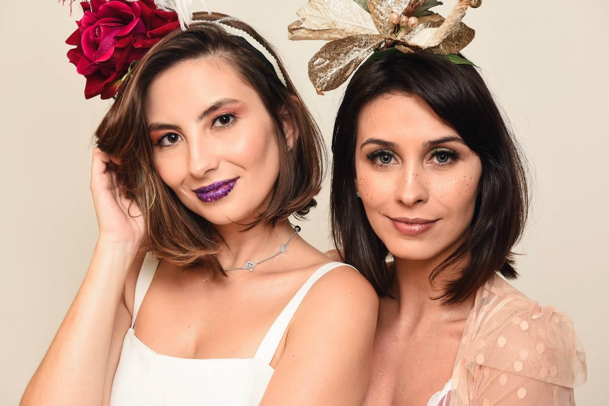 Aline Flores e Van Duarte com makes faceis de fazer para o Carnaval